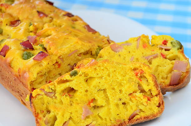 delicious homemade freshly baked pound cake with ham. - gezout stockfoto's en -beelden