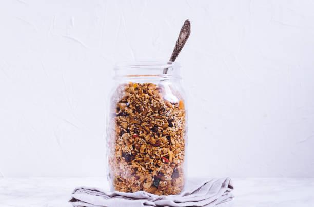 Delicious homemade granola stock photo