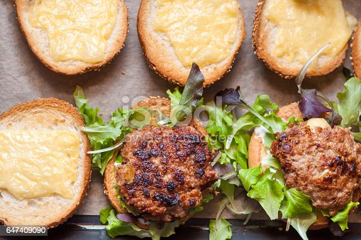 1156991909 istock photo Delicious homemade hamburger with lettuce and cheese in baking tray. Homemade dinner 647409090