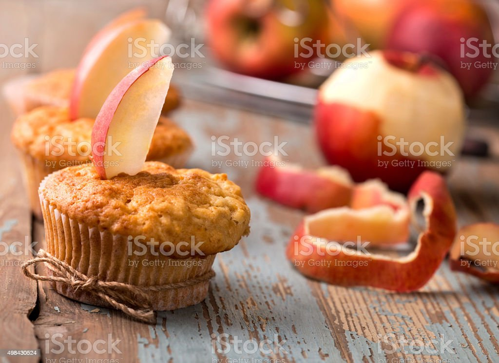 delicious homemade muffins with apples stock photo