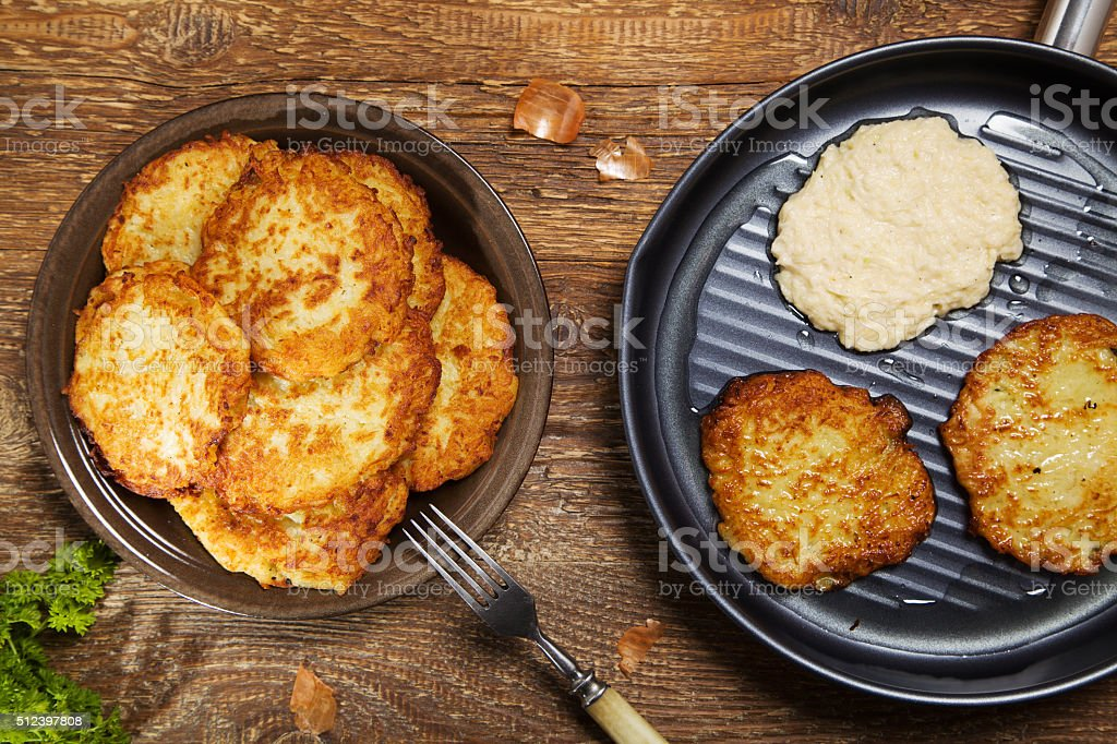 Delicious homemade potato pancakes. stock photo
