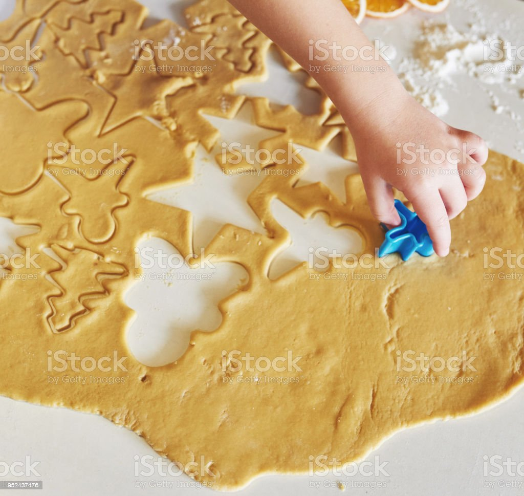 Delicious honey cookies with beautiful shapes for the holiday stock photo