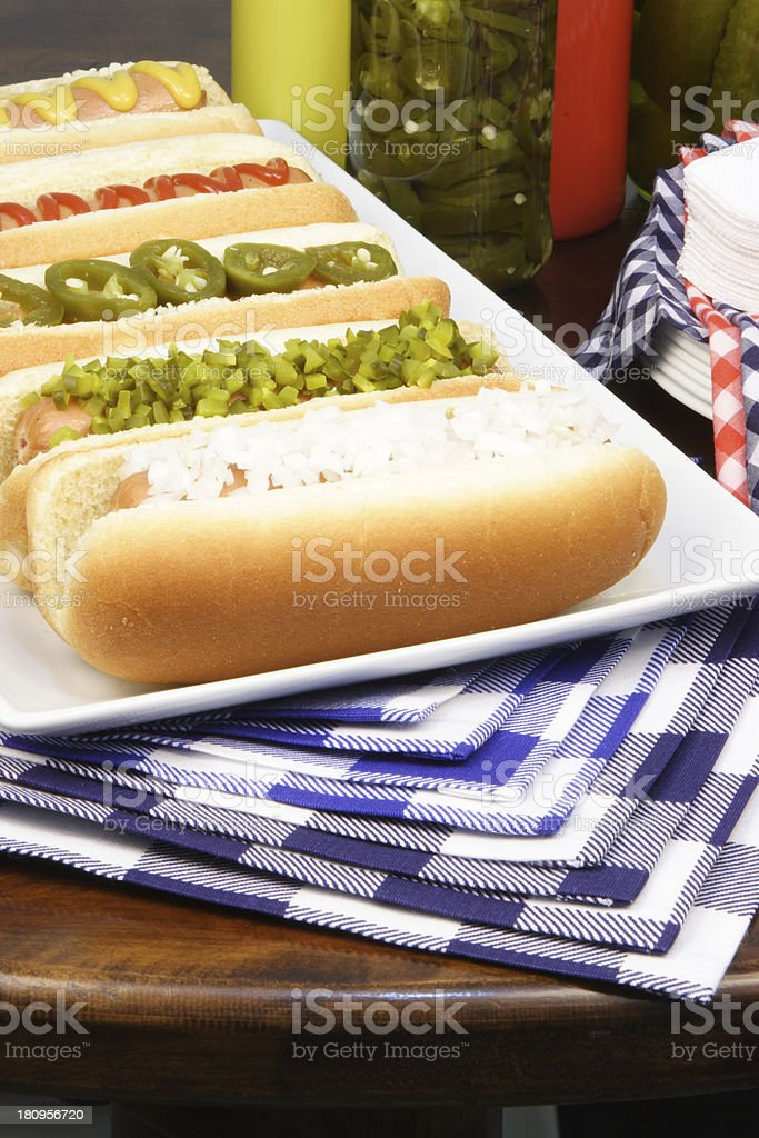 Delicious hot dogs royalty-free stock photo