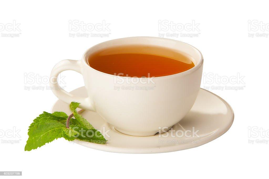 delicious hot Green tea on white stock photo