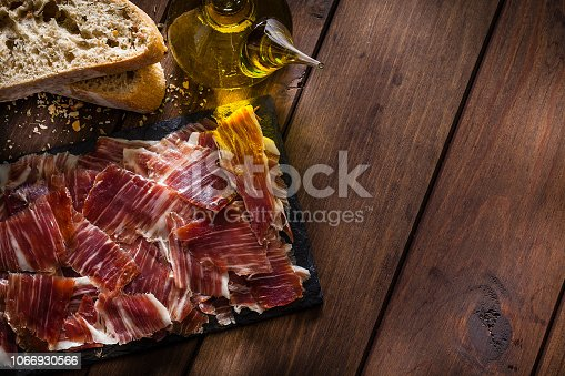 Typical Mediterranean food backgrounds: Slate board with Iberico ham slices shot from above on rustic wooden table. Two bread slices are at the top-left. The composition is at the left of an horizontal frame leaving useful copy space for text and/or logo at the center-right. Predominant color is brown. Low key DSRL studio photo taken with Canon EOS 5D Mk II and Canon EF 100mm f/2.8L Macro IS USM.