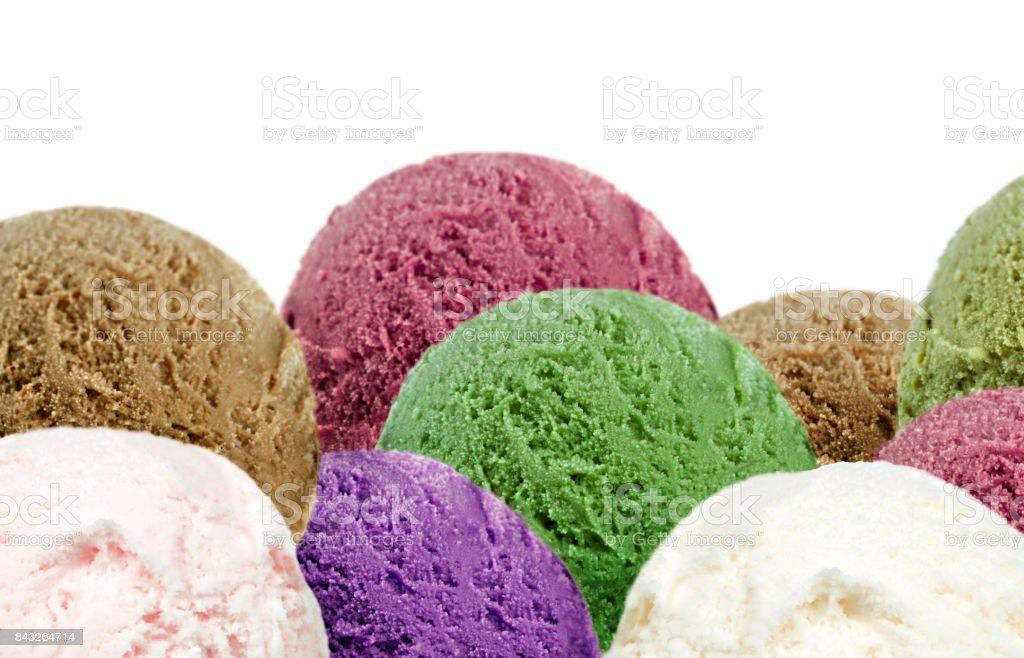Delicious ice cream scoops stock photo
