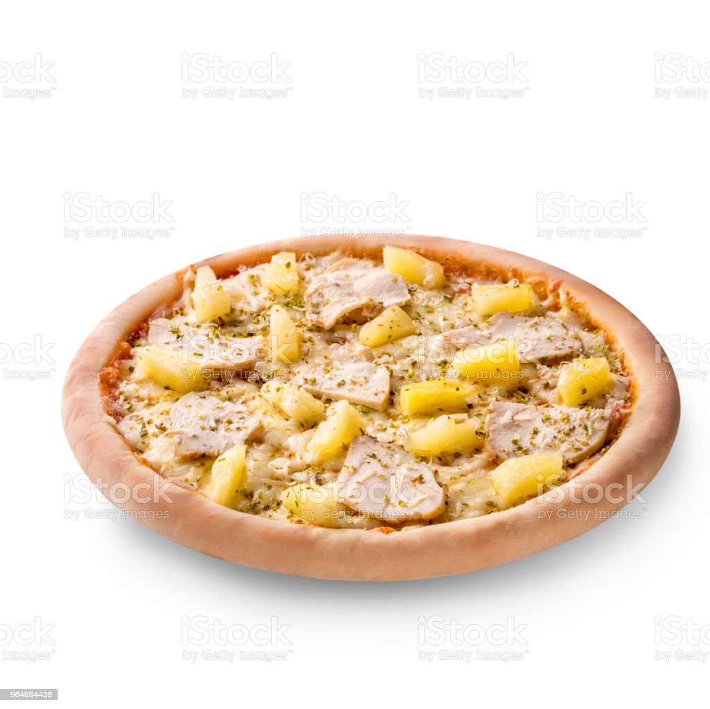 Delicious italian pizza with pineapples and chicken fillet isolated on white background royalty-free stock photo