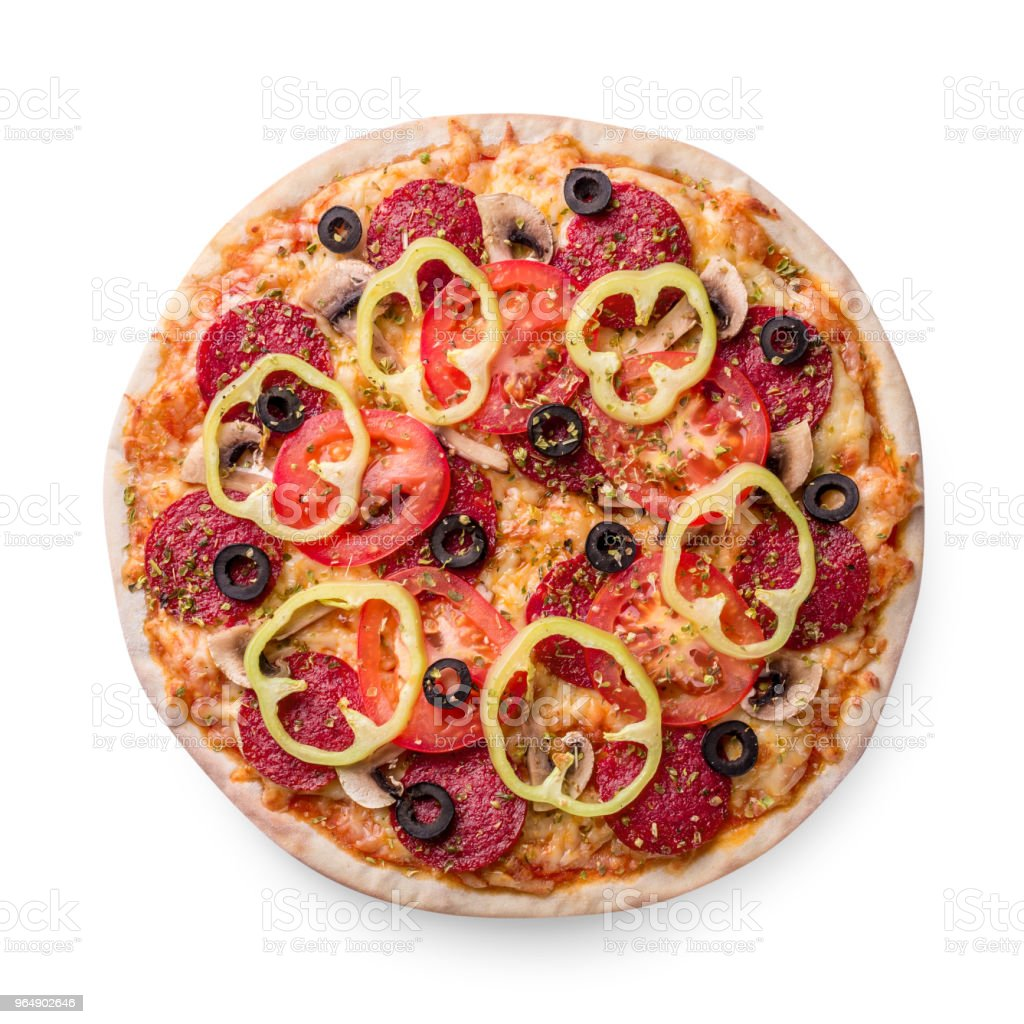 Delicious Italian pizza with tomato, pepperoni and mushrooms, top view isolated on white background royalty-free stock photo