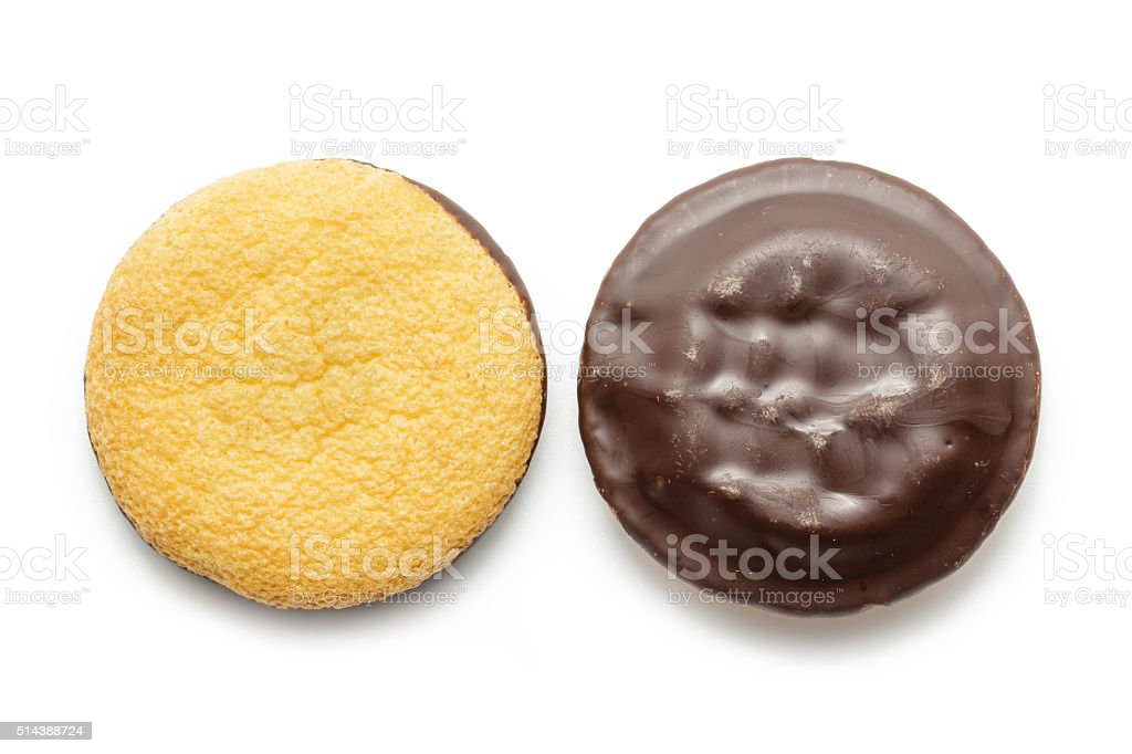 Delicious Jaffa Cakes. Cookies covered with dark chocolate stock photo