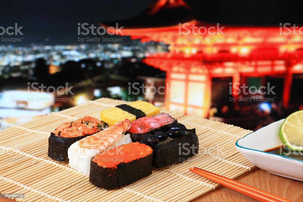 delicious Japanese sushi mix with beautiful japan night scenes stock photo
