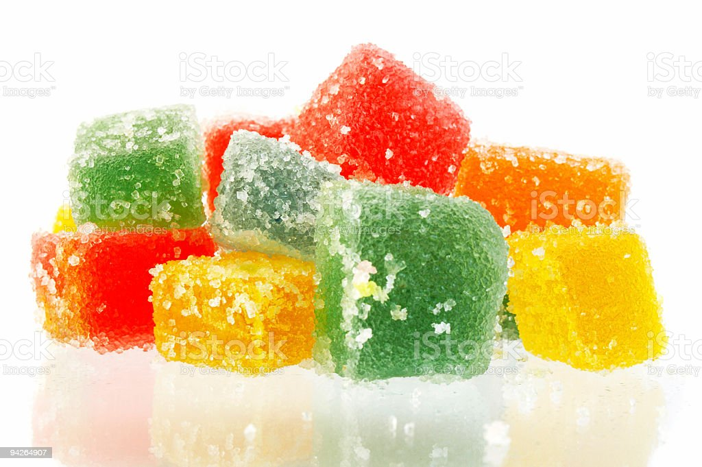 Delicious jelly cubes isolated on white background royalty-free stock photo
