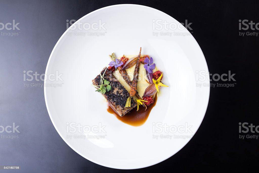 Delicious Lamb Ribs Plated stock photo