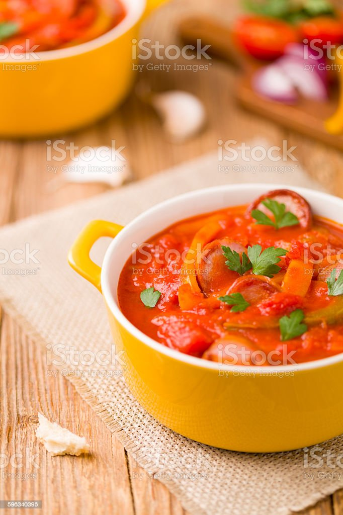 Delicious letcho with fresh vegetables. royalty-free stock photo