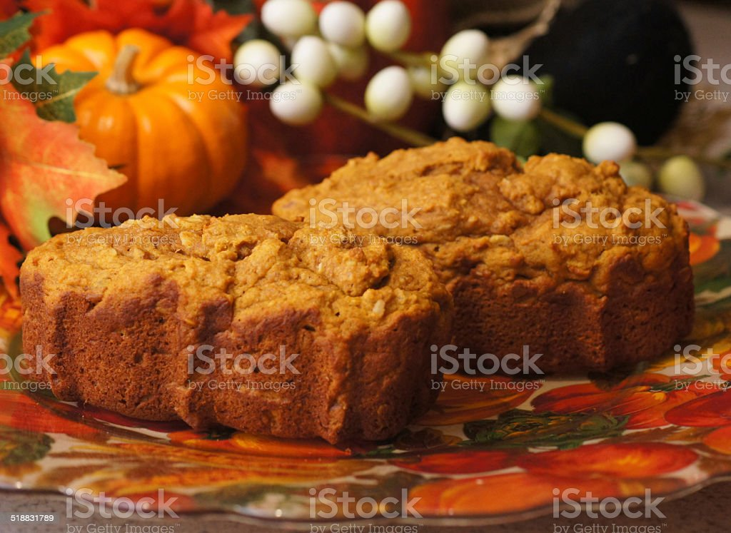 Delicious Loaves of Pumpkin Bread stock photo