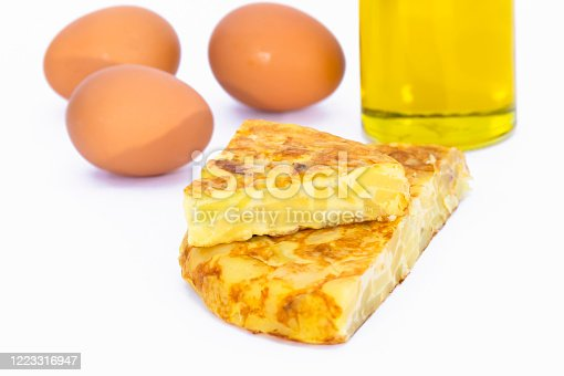 Close-up of two delicious looking spanish omelet slices with out of focus brown eggs and a bottle of olive oil in the back. Spanish and traditional food concept.