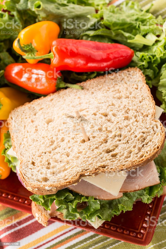 Delicious Lunch Sandwich with Peppers and Lettuce stock photo