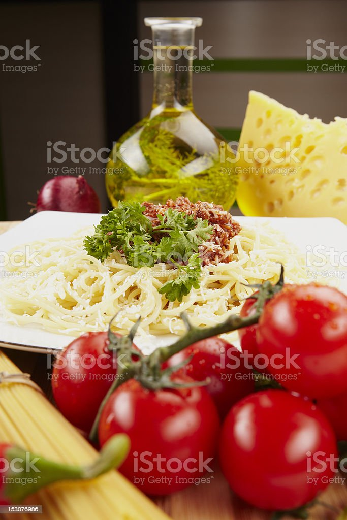 delicious macaroni pasta with tuna in a white plate royalty-free stock photo
