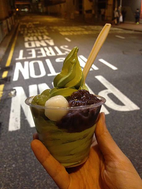 POV: Delicious Matcha Ice Cream In Hong Kong stock photo
