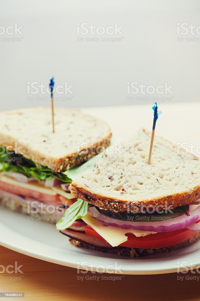 Delicious Meat and Vegetable Sandwich stock photo