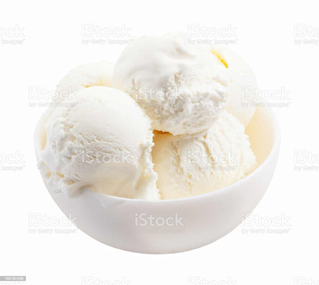 delicious melted ice cream scoops in bowl stock photo