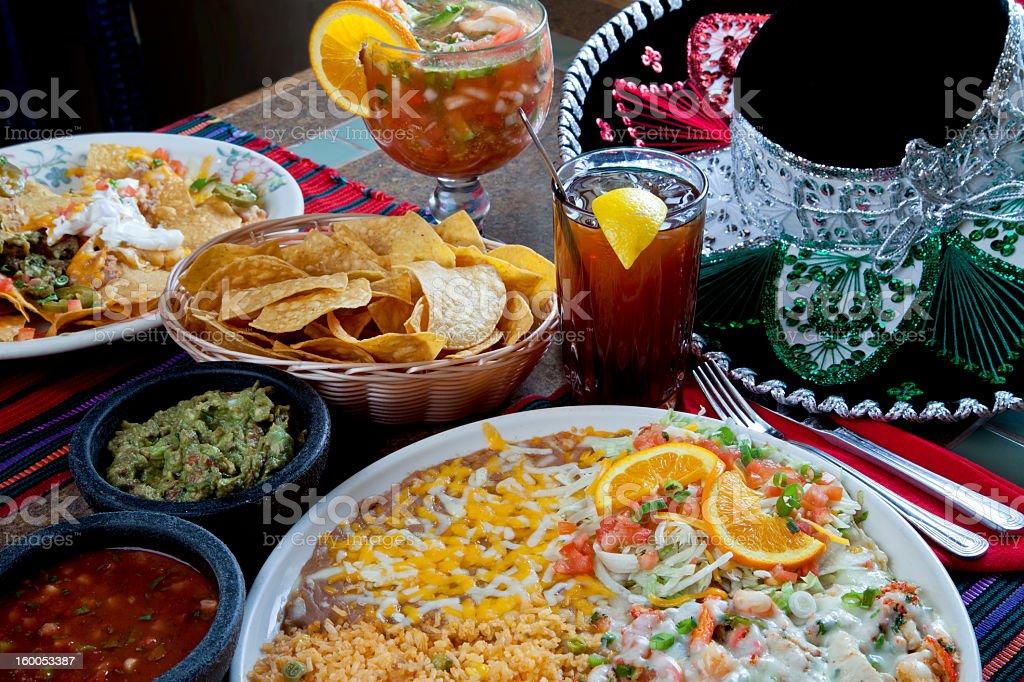 A delicious Mexican cheesy shrimp dinner stock photo