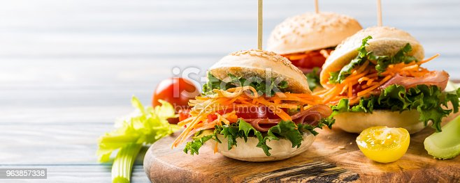 istock Delicious mini burgers 963857338