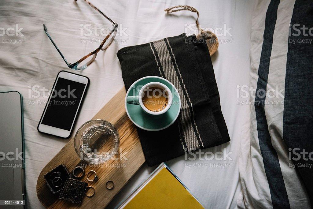 Delicious Morning fresh espresso coffee in Bed stock photo