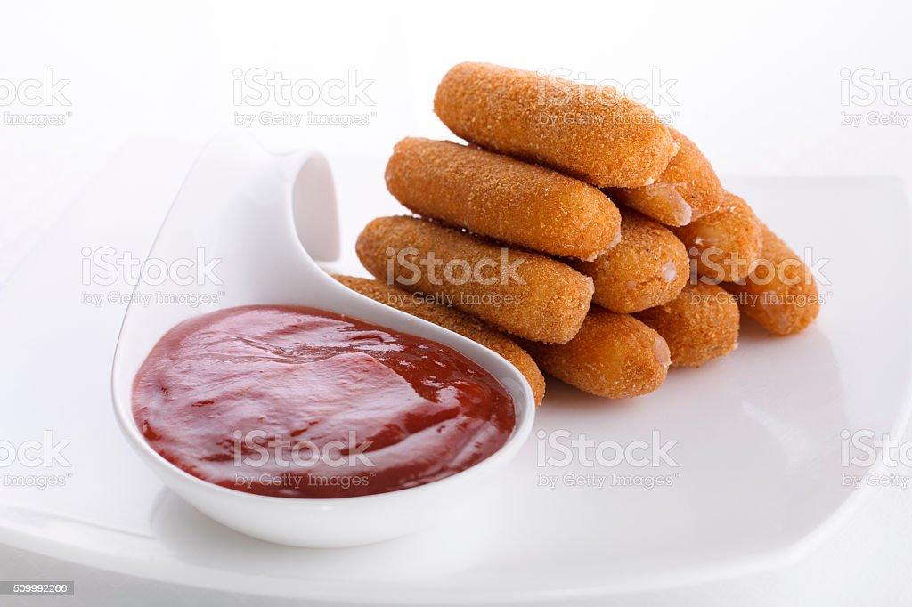 Delicious Mozzarella Fried Sticks With Tomato Sauce stock photo