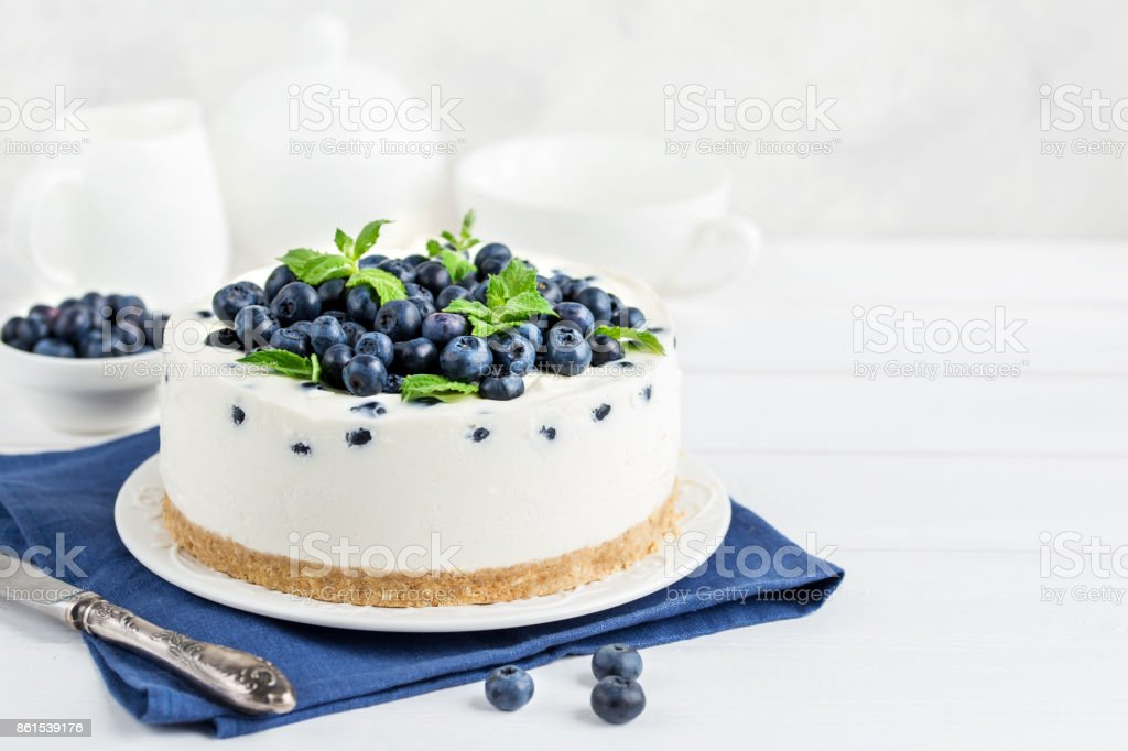 delicious no baked cheesecake with fresh blueberry stock photo