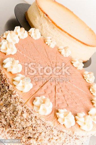 Delicious nut cream cake and cheesecake