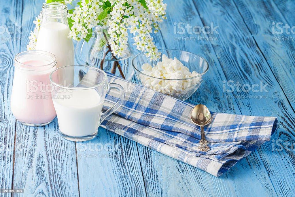 Delicious, nutritious and fresh plain yogurt and milk bottle. stock photo