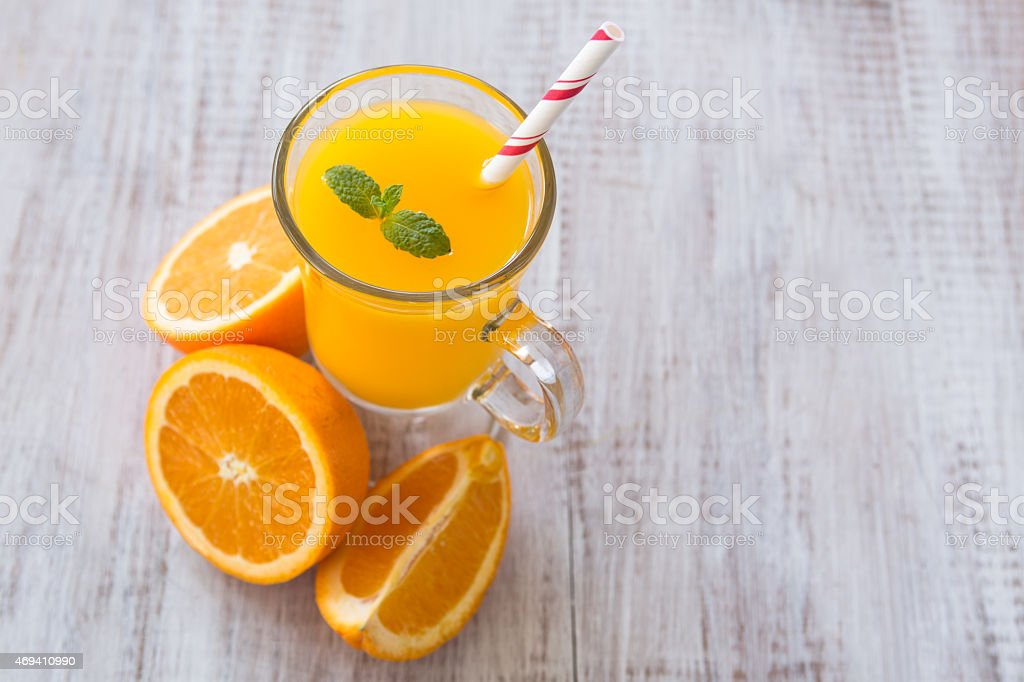 Delicious Orange Juice Breakfast Drink stock photo