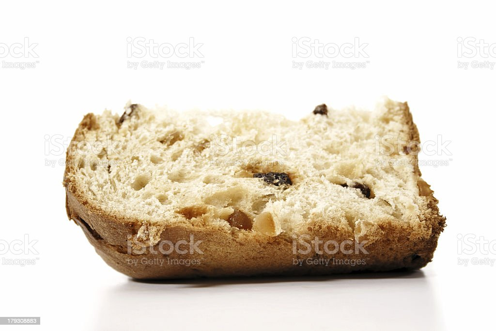 Delicious panettone slice stock photo