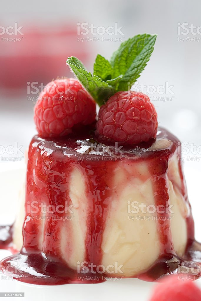 Delicious panna cotta dessert stock photo
