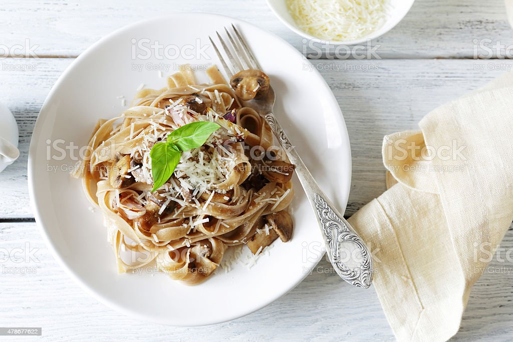 Delicious pasta with cheese stock photo