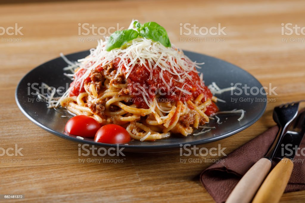 Delicious pasta with tomato and meat. Stock image royalty-free stock photo