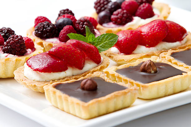 Delicious pies and pastries stock photo