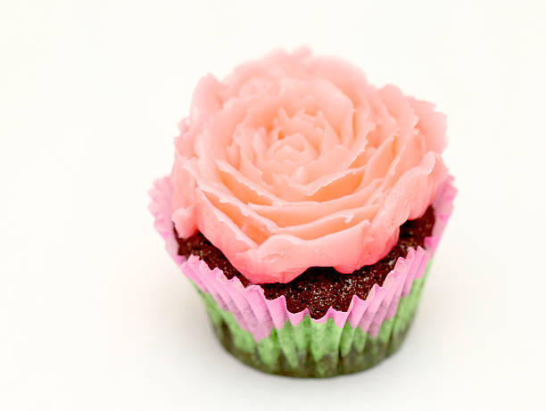 Delicious Pink Flower Cupcake stock photo
