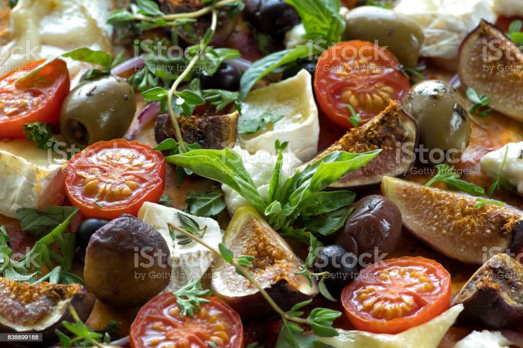 Delicious pizza food background. stock photo