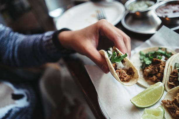 delicious pork tacos - mexican food stock photos and pictures