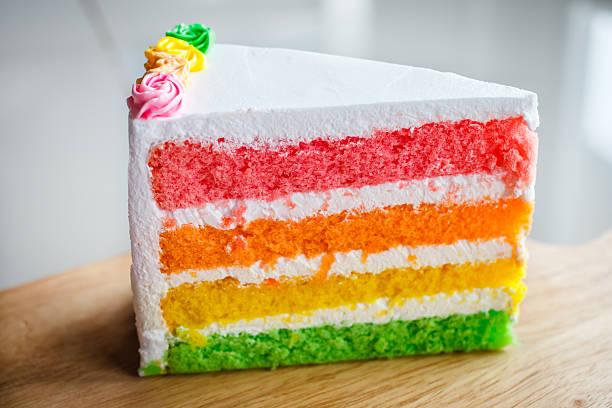 delicious rainbow cake on wood plate. - кусок торта стоковые фото и изображения