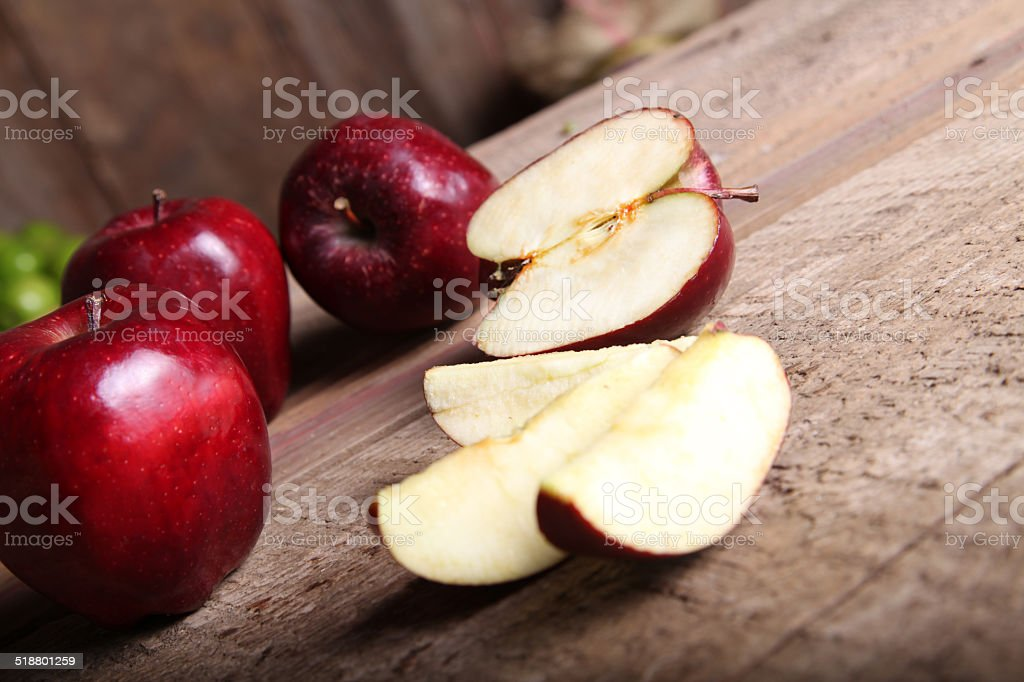 Delicious Red Apple Slices stock photo