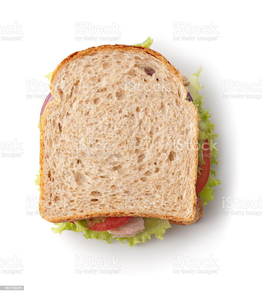 Delicious sandwich made with whole wheat bread royalty-free stock photo