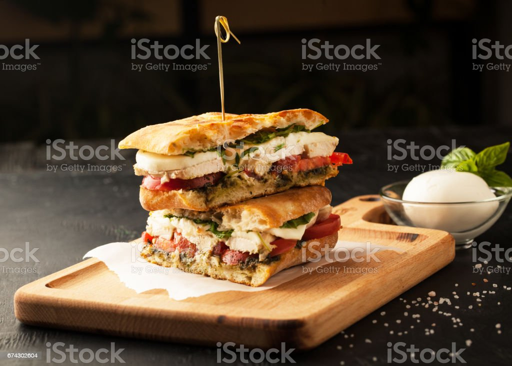 Delicious sandwich with chicken and mozzarella cheese stock photo