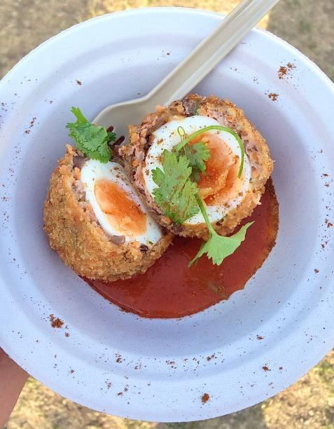A delicious Scotch Egg with a Korean twist. stock photo