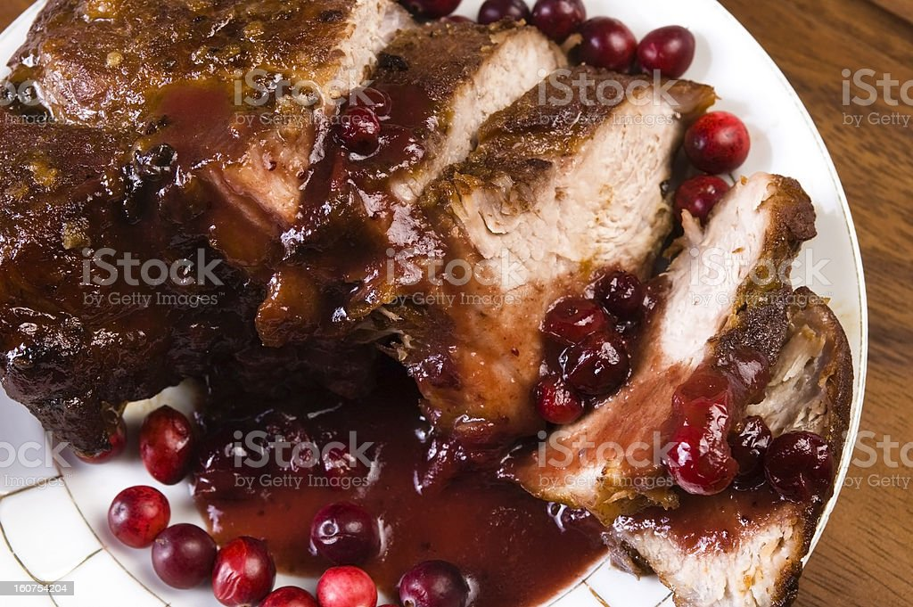 Delicious Scrambled Grilled meat with cranberry sauce royalty-free stock photo