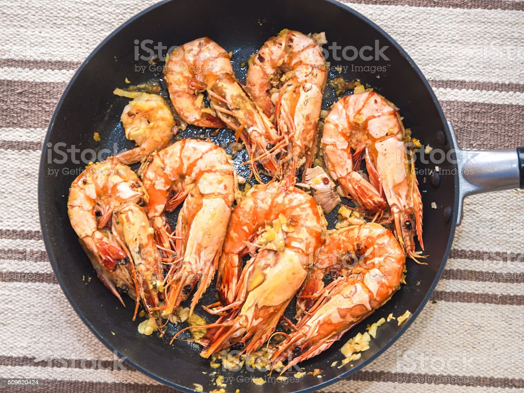 Delicious sea food of grilled prawn stock photo