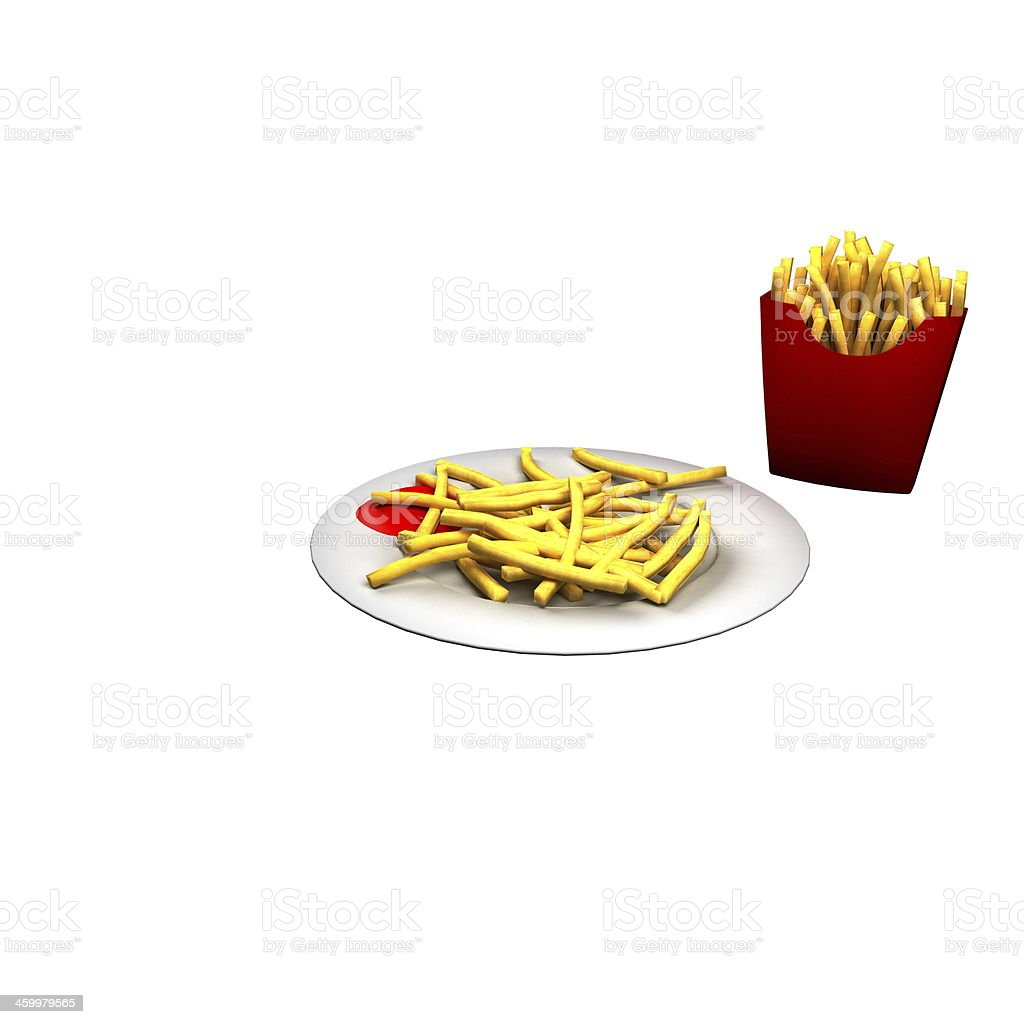 Delicious serving of french fries isolated stock photo