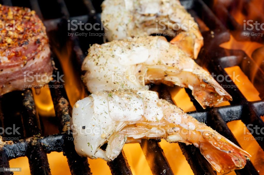 Delicious Shrimip on the Barbecue royalty-free stock photo