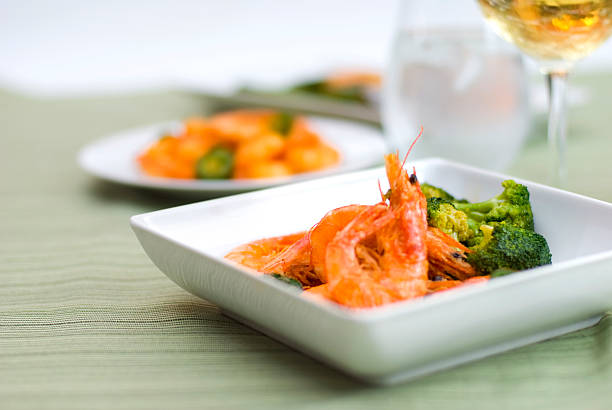 Delicious Shrimp with Steamed Broccoli stock photo